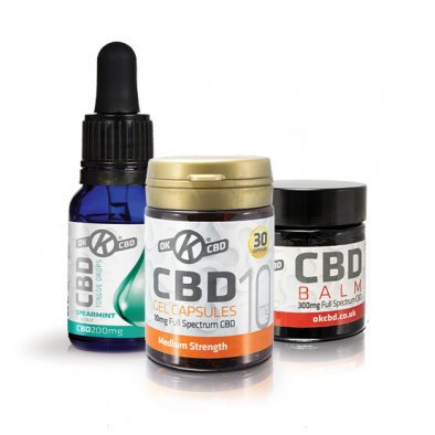 CBD Introductory Pack - Image of CBD Oil, CBD Capsules & CBD Balm